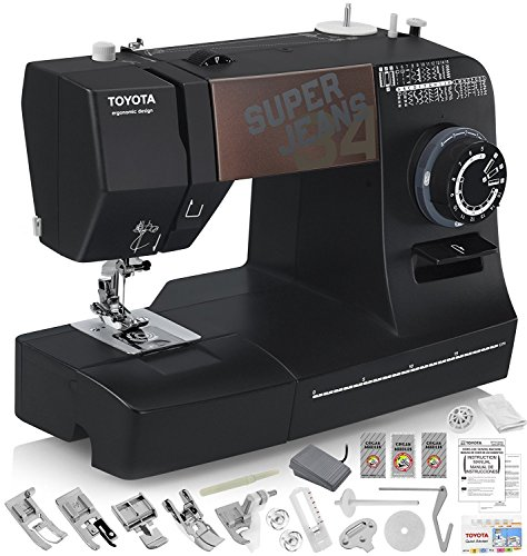 TOYOTA Super Jeans J34 Sewing Machine (Glides Over 12 Layers of Denim) w/Gliding Foot, Blind Hem Foot, Zipper Foot, Overcast Foot, Needles and More! (Best Male Singers Today)