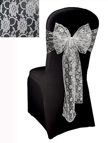 50 Lace Chair Sash Bow Wedding Venue Decoration Party Wrap - white