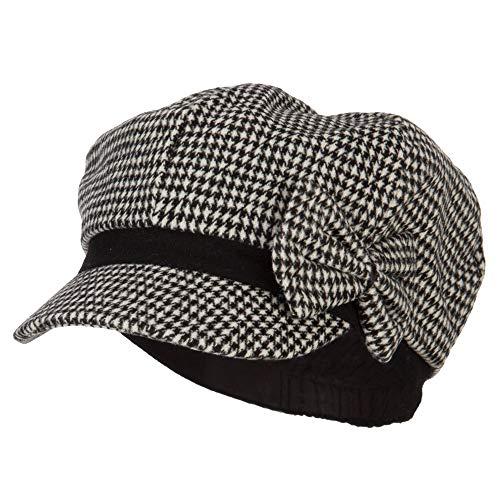 Women's Bow Trim Houndstooth Newsboy Hat - Black White OSFM