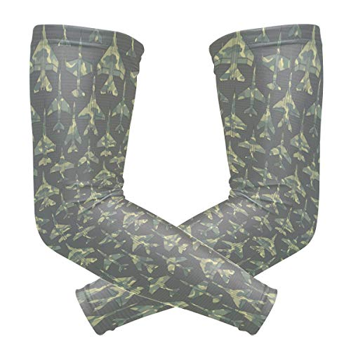 Unisex Arm Sleeve Air Force Aircraft Camo UV Protection Arm Compression Sleeve Skin Protection Sport Arm Cooler Sleeve for Running Hiking Jogging Motorcycling Climbing Camping ()