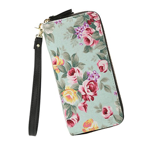 Pretty Floral Pattern (Zipper Wallet Women Large Floral Clutch Wallet Canvas Card Holder Purse (One size, Green))