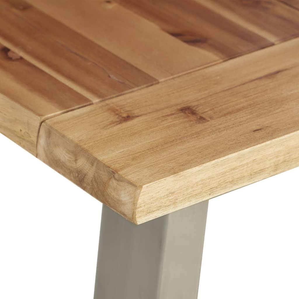 FAMIROSA Table /à d/îner 120x65x75 cm Bois dacacia et Acier Inoxydable