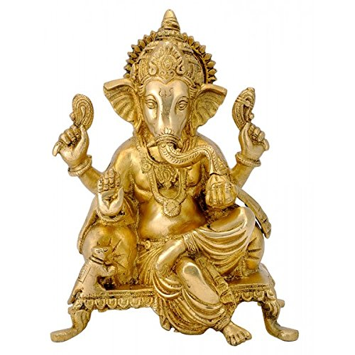 Gangesindia Lord Ganesha Seated on Chowki Brass Statue