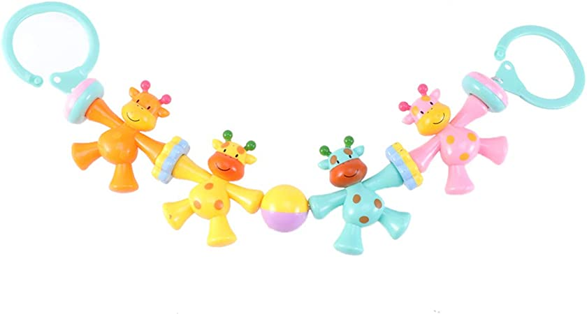 NUOBESTY 1pcs Infant Baby Newborns Crib Rattles Toys Educational Cartoon Hanging Stroller Animal Rattles Toys Plush Toys