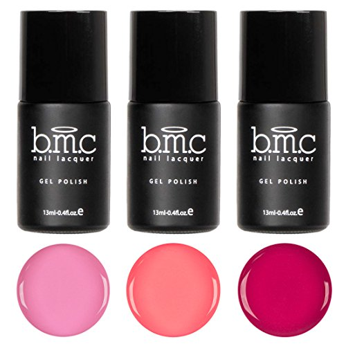 BMC 3pc Pink Colored Cream Speed Gel Lacquer Polishes - Pink