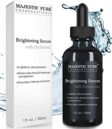 Hydrating Whitening Night Cream - Skin Brightening Serum with Hyaluronic Acid by Majestic Pure - Lighten Discoloration - Evens Skin Tone & Improves Complexion, Provides Intense Moisture - 1 fl oz
