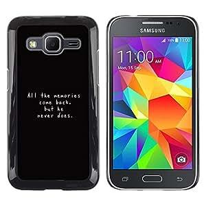 TECHCASE**Cubierta de la caja de protección la piel dura para el ** Samsung Galaxy Core Prime SM-G360 ** Memories Quote Life Love Relationships