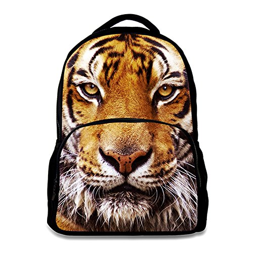 Tiger Backpack - Animal School Bag Children's Age6-16 Polyester 17 Inch Laptop Backpack (Tiger)