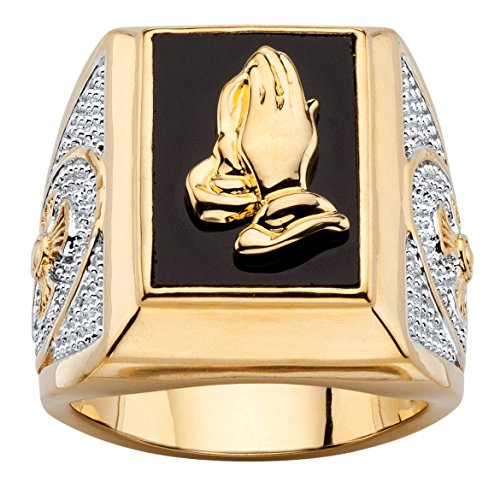Seta Jewelry Men's Emerald-Cut Genuine Black Onyx 14k Gold-Plated Praying Hands Two-Tone Ring