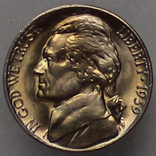(1939 -D Jefferson Nickel (straight steps V2) - Choice/Gem BU US Coin)