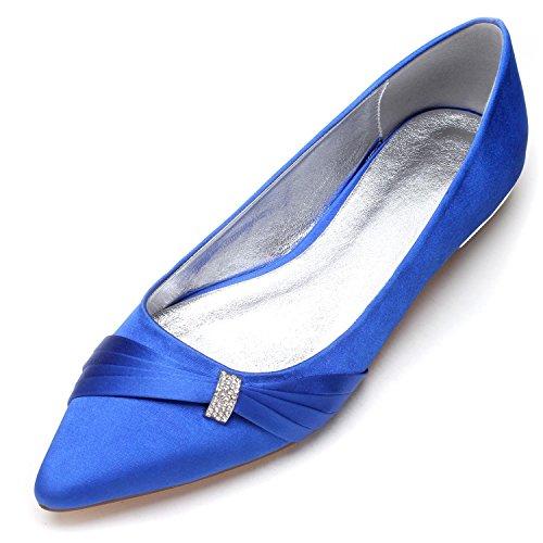 L@YC Damen Brautschuhe 5047-18 Heel Satin Closed Toe Schnalle Satin Abend Hochzeit Court Schuhe Blue