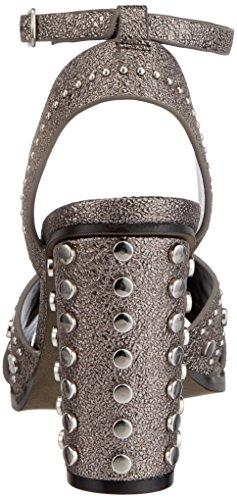 Buffalo 316-0566-1 Leather PU, Sandali con Cinturino Alla Caviglia Donna Multicolore (Pewter 01)