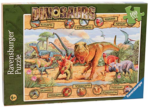 Ravensburger Dinosaurs - 100 Piece Jigsaw Puzzle for Kids - Every Piece is Unique, Pieces Fit Together Perfectly