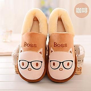 Y-Hui calzature per bambini in inverno Casa Arredamento coppia femminile pantofole di slittamento sacchetto caldo con cotone pantofole maschio, 38-39 (Fit per 37-38 piedi),caffè