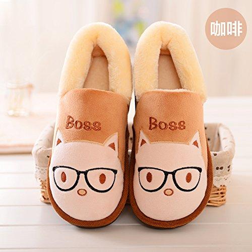 Y-Hui Los zapatos para niños en invierno Home Furnishing pareja femenina zapatillas Slip cálida bolsa con zapatillas de algodón macho, 42-43 (apto para 41-42 pies),el café