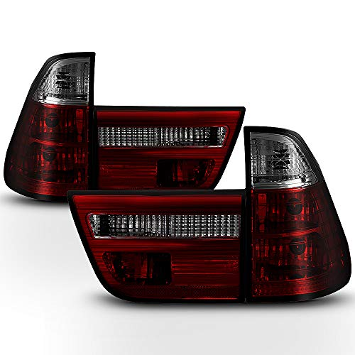 ACANII - For 2000-2006 BMW E53 X5 Red Smoked Tail Lights Brake Lamps Replacement Driver & Passenger Side ()