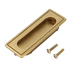 Recessed Handle, Brass Recessed Furniture Handle for Kitchen Cupboard Cabinet Wardrobe Drawer Pulls, Recessed Pull Handle