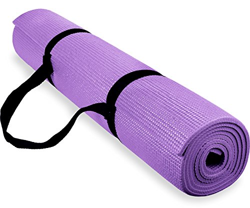Spoga Light Purple 1/4″ Anti-Slip Exercise Yoga Mat with Carrying Strap