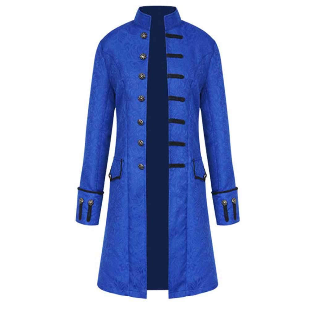 GREFER-Mens Long Jacket Mens Winter Button-Down Palace Vintage Tailcoat Loose Stand Collar Outwear Long Sleeve Blue