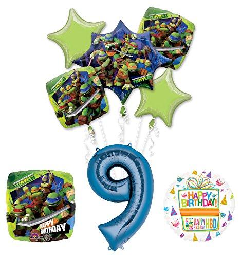 Teenage Mutant Ninja Turtles 9th Birthday Party Supplies and TMNT Balloon Bouquet Decorations ()