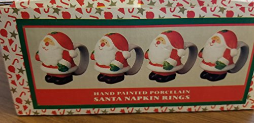 Painted Accessory Porcelain Hand - World Bazaards Set of 4 Hand Painted Porcelain Santa Napkin Rings