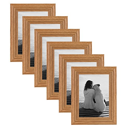 DesignOvation Penelope Wood 5×7 Wall Hanging or Table Standing Picture Frame, Oak Brown, Pack of 6