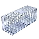 Trapro Large Collapsible Humane Live Animal Cage Trap for Raccoon, Opossum, Stray Cat, Rabbit, Groundhog and Armadillo - 81 x 28 x 33 cm