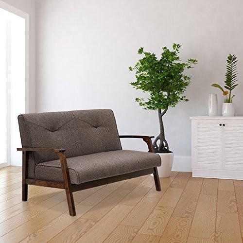 Dark Sofa Brown Convertible (FURINNO W857DBR Mid Century Vintage Compact Loveseat, Dark Brown)