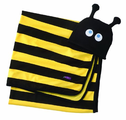 (Sozo Baby Boys Beehave Swaddle Blanket & Cap Set, Black/Yellow, One Size )