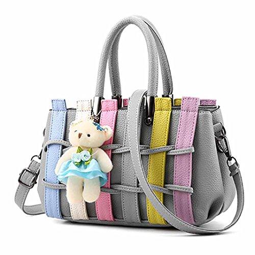- Ladies Cross Body Shoulder Bag Handbags Large Capacity Bags Gray for Women TOPUNDER S