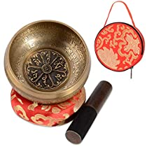 SHANSHUI Tibetan Singing Bowl Set,4and 5 Antique Design Nepal Mantra Hand-carved Handmade with Silk Cushion & Striker For Chakra Healing, Yoga,and Mindfulness