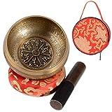 SHANSHUI 5'' Meditation bell, Tibetan Singing Bowl Set, Nepal Antique Mantra Carving Hand Hammered, Sound For Yoga Chakras Healing Meditation -Red