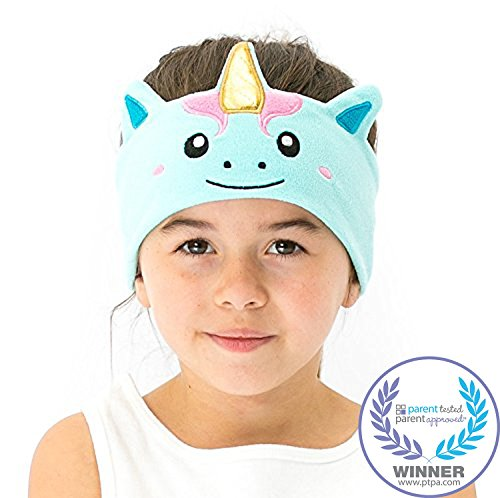 - CozyPhones Kids Headphones Volume Limited with Ultra-Thin Speakers Soft Fleece Headband - Perfect Children's Earphones for School, Home and Travel - Mystic Unicorn