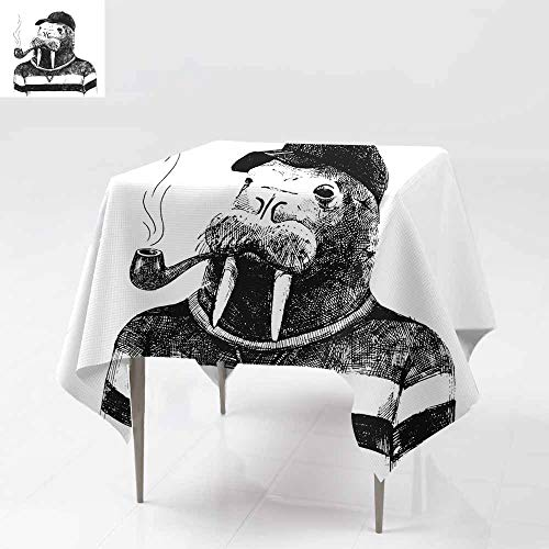 Fbdace Tablecloth for Kids/Childrens,Dressed up Walrus in Hipster