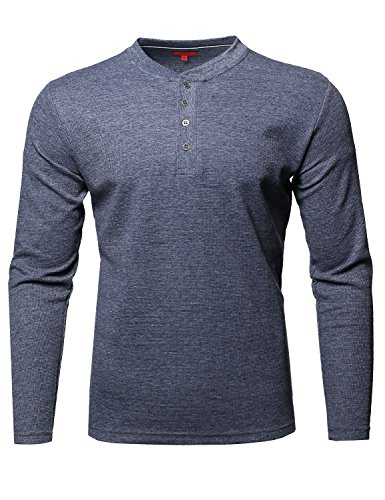 - Premium Quality Thermal Henley Crew Neck Long Sleeve T-Shirt Denim Size M