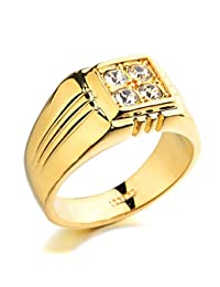 Acefeel Father's Day Gift Square Shape Wide Ring Inlaid Austrian Crystal Mens Wedding Ring R245