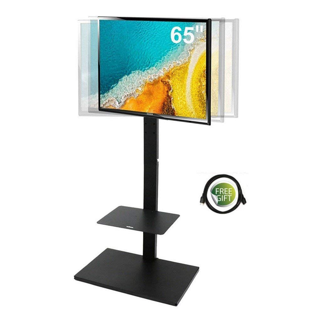 Swivel TV Stand with Mount Tilt Floor Standing Height Adjustable Shelf Fits 32-65 Inches TV Screens Load Capacity Upto 66lbs by UNHO