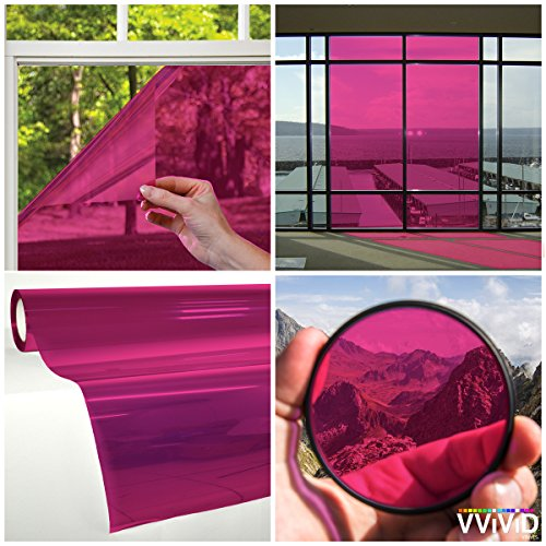 VViViD Transparent Colorful Vinyl Window Tinting Sheets (1.49ft x 5ft, (Pink Tint Glass)