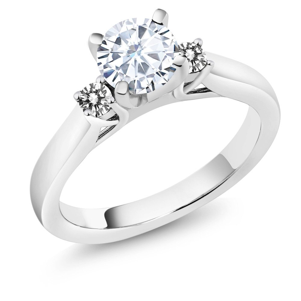 Charles and Colvard Moissanite 925 Sterling Silver Engagement Solitaire 3-Stone Ring 6mm 0.88Ct with White Diamonds as Side Stones