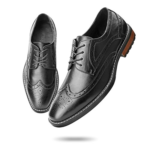 Men's Wingtip Dress Shoes Classic Brogue Lace-up Leather Oxfords Comfort Fit Elegance Black 10.5 D (M) US - Leather Sole Dress Shoes