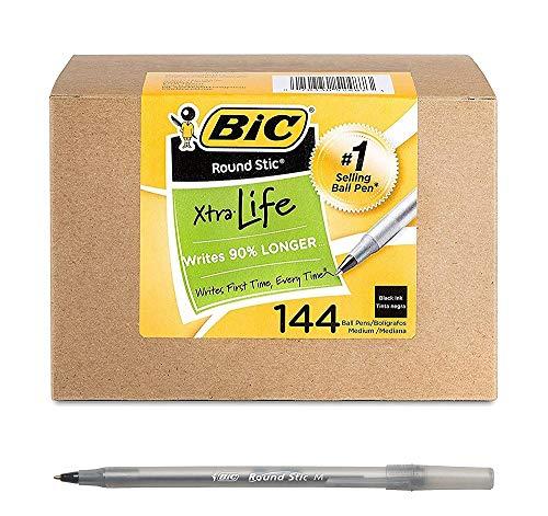 BIC Round Stic Xtra Life Ballpoint Pen, Medium Point (1.0mm), Black, 144 Count (2 Pack)