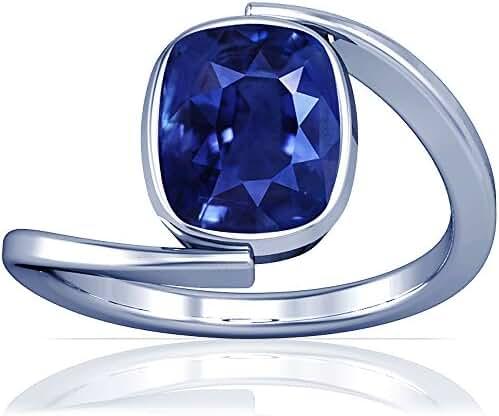 Platinum Cushion Cut Blue Sapphire Womens Astrological Ring (GIA Certificate)