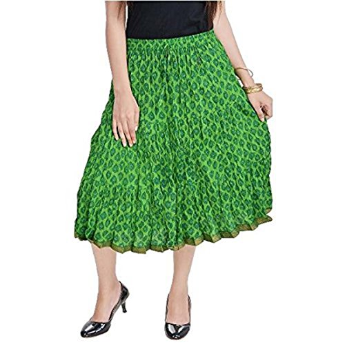 Indian Handicrfats Export Women Rajasthani Green Cotton Short Skirt (Parrot Green)(SMSKT586)