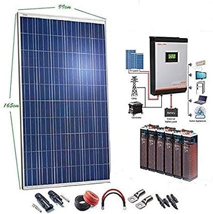 Kit Solar 24v 2500w/12500w día Batería 6OPzS 900Ah Inversor Multifunción 3kva Regulador MPPT 60A