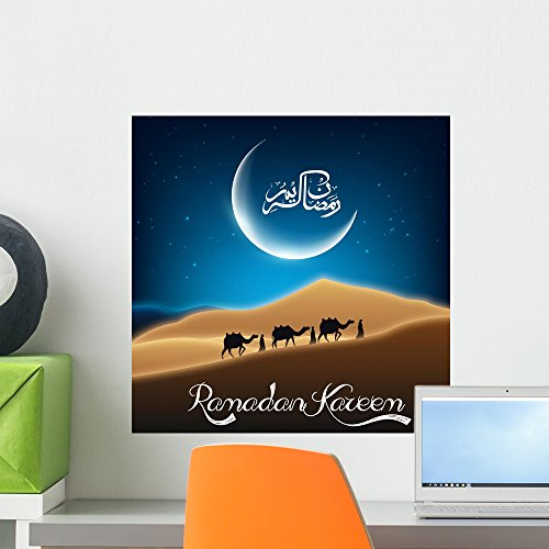 Crescent Camel - Wallmonkeys Ramadan Kareem with Camel Wall Mural Peel and Stick Graphic (18 in W x 18 in H) WM361321