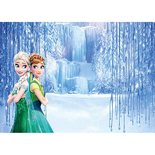 Photography Background 3x5ft Frozen Theme Photo Backdrop for Baby Shower Seamless Photo Background Vinyl Anna and Elsa Disney Princess Backdrops for Birthday -
