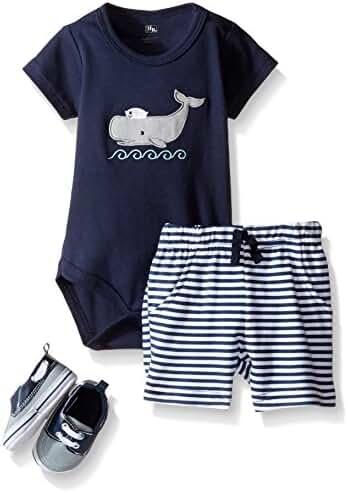 Hudson Baby Baby -Boys' 3 Piece Bodysuit, Short, Shoe Set