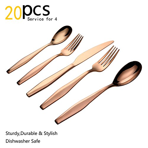 Flatware Set, 20 pieces PVD Rose gold Flatware Set with Fork, Knife and Spoon, Service for 4 by LORENA (BIBRA, 20pcs)