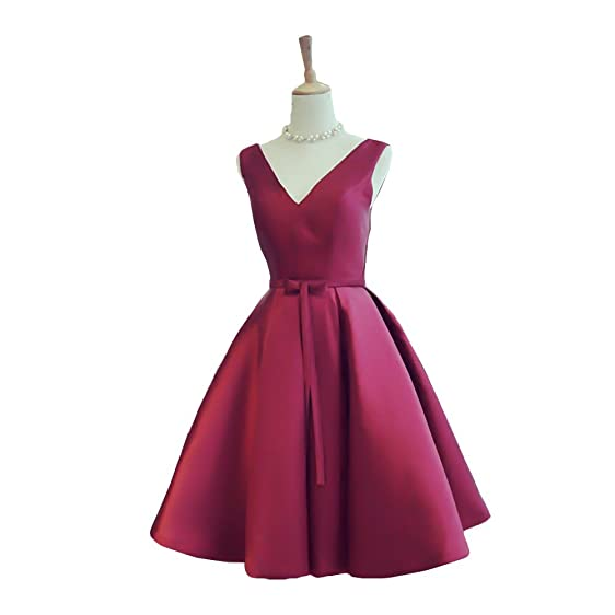 Elegant V-neckline Japanese Satin Short Puffy Skirt Bridesmaid Dresses