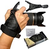 First2savvv OSH0901 Professional Wrist Grip black genuine soft leather hand Strap for SONY DSC-H400 with UV lens filter protection bag case